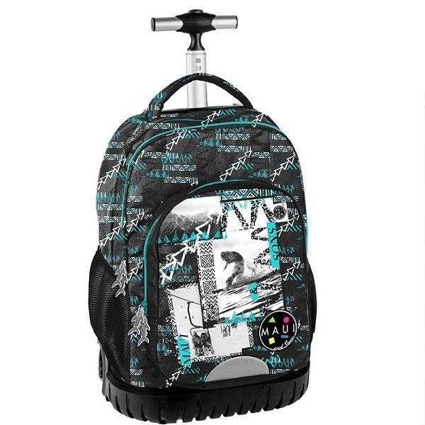 24426fc8c02f Maui gurulós iskolatáska fekete kék - Paso - Iskolatáskawebshop